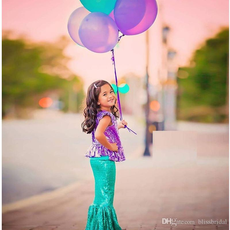 Sparkly Sequins Mermaid Wedding Flower Girls' Dress with Comfortable Lining Kids Formal Dresses Girl's Floor Length Bule Pageant Dresses