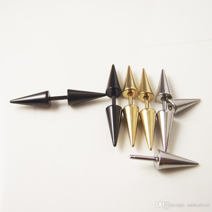16G Gold Silver Black Stainless Steel Spike Cone Earring Stud Ear Helix Piercing Jewelry