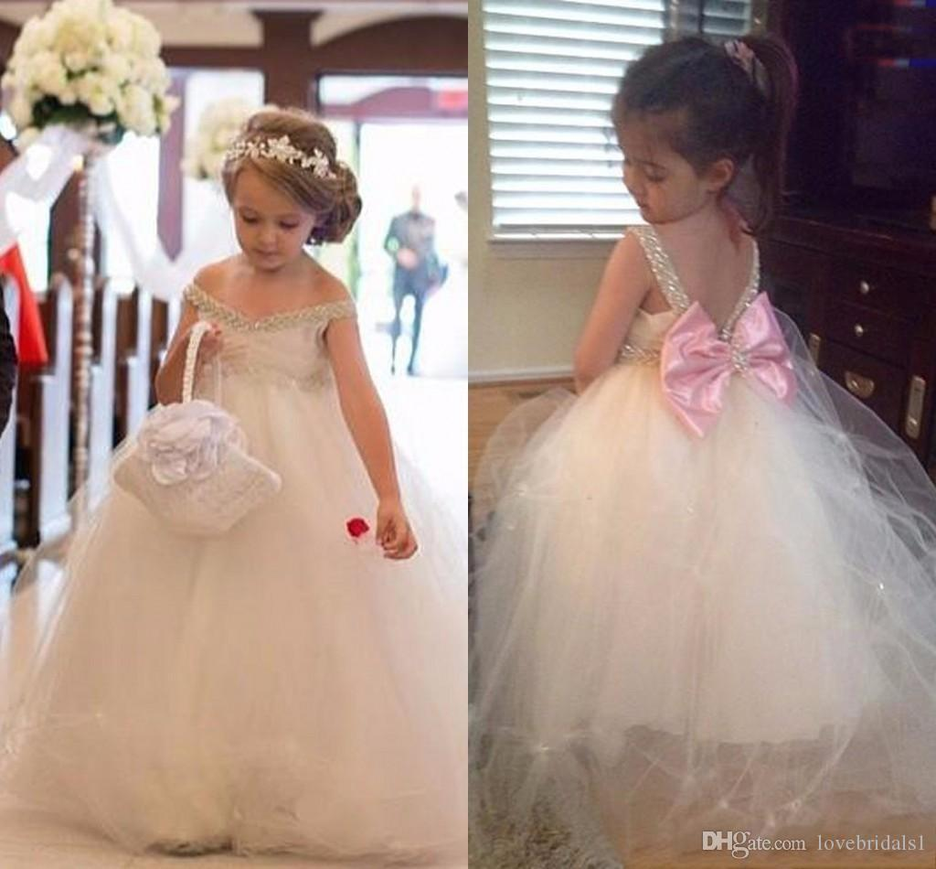 Flor bonito das meninas 'vestido de lantejoulas off-a-ombro tulle-chão-comprimento princesa de volta grande arco vestido simples meninas pageant