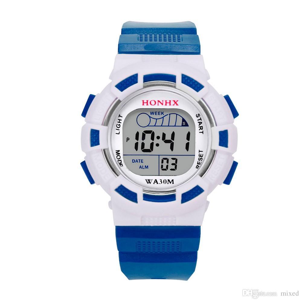 HONHX ماء الأطفال بنين الرقمي LED الرياضة ووتش أزياء أطفال إنذار التاريخ ساعة هدية ريلوخ هومبر ووتش