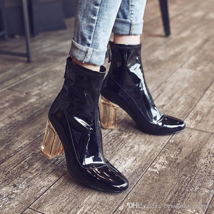 9ac0f56b3b5 2018 Fashion Leather Rainboots Clear High Heels Shoes Woman Lucite Perspex  Chunky Heel Ankle Boots Black Patent Leather Women Booties 35 40 Shoe Boots  Over ...