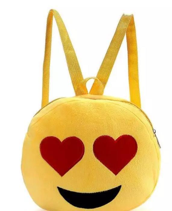 2016 QQ Expression Emoji Smiley Cotton Fabric Kids School Bags Children Round Yellow Plush Backpack Kids Plush Toy Nylon Christmas Gift