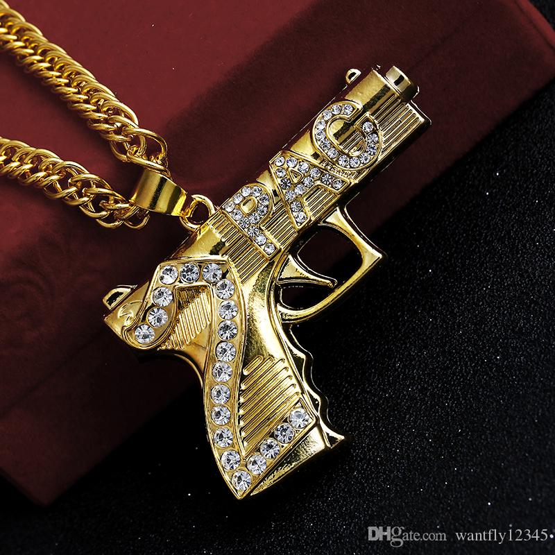 Wholesale 2017 Gold Plated Gun Hiphop Bling 2pac Pendant Necklace