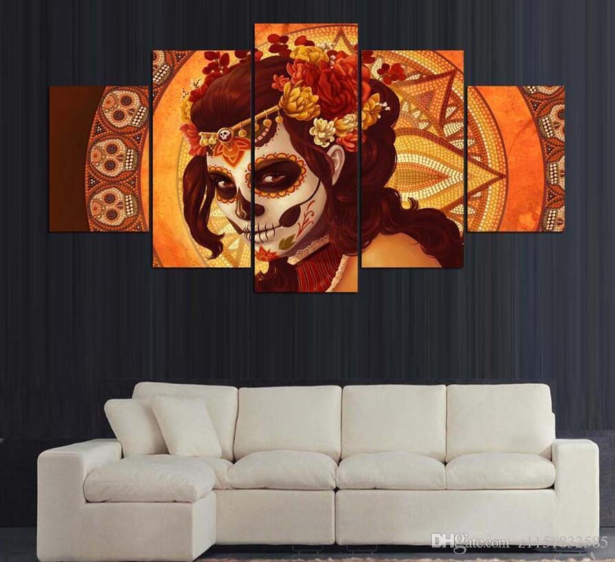 Envío de la gota HD Impreso Día de los Muertos Face Group Painting room decor impresión del cartel de la imagen decoración del hogar lienzo