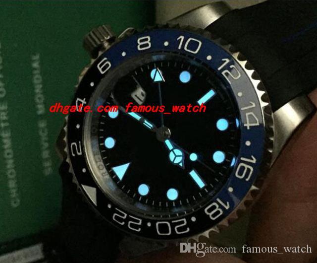최고 품질 럭셔리 II 116710B 40mm 세라믹 베젤 배트맨 블랙 / 블루 고무 팔찌 자동 기계 남자 시계 새로운 도착