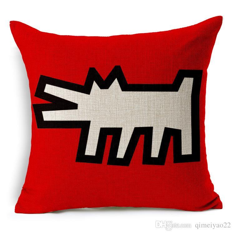 Keith Haring Kissenbezug Moderne Wohnkultur Dekokissen Fall Auto-Sitz Vintage-Nordic Kissenbezug für Sofa Dekorative Kissenbezug