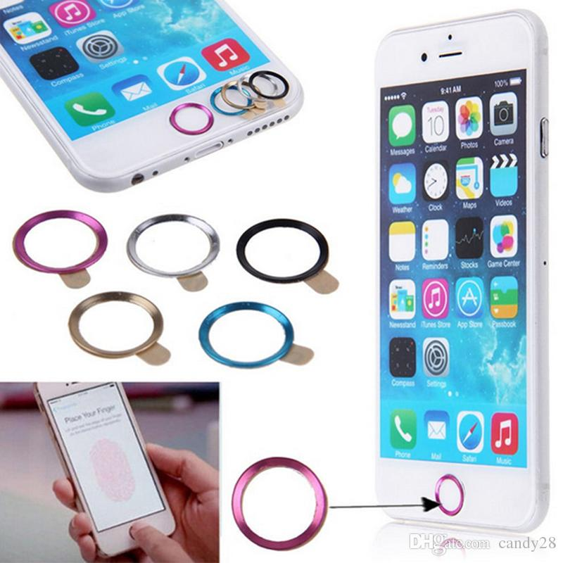 Aluminium Metal Home Button Key Ring Stickers Fingerprint Support Touch ID For iphone7 6 6s plus iphone5 5S 5C SE 4 4S with Retail packing