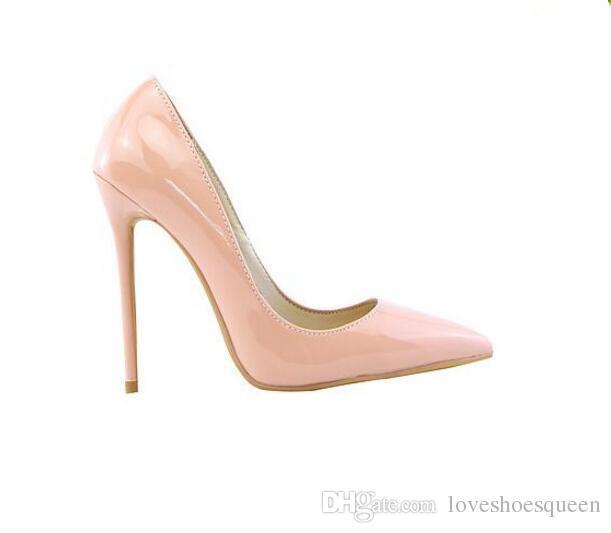 2017 mujeres 12 cm tacones altos charol bombas deslizan en stilettos oficina señora zapatos / party club bombas chaussure femmes