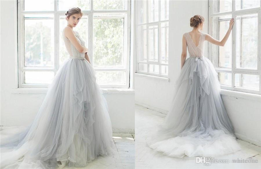 2017 Ombre Tulle Beach Wedding Dresses Lace Applique Beaded Scoop ...