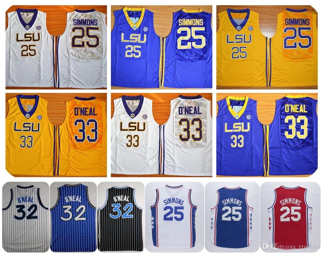 36ca5d5bdad ... Cheap LSU Tigers College Basketball Jerseys 25 Ben Simmons 33 Shaquille  ONeal Shaq Shirts University Stitched ...