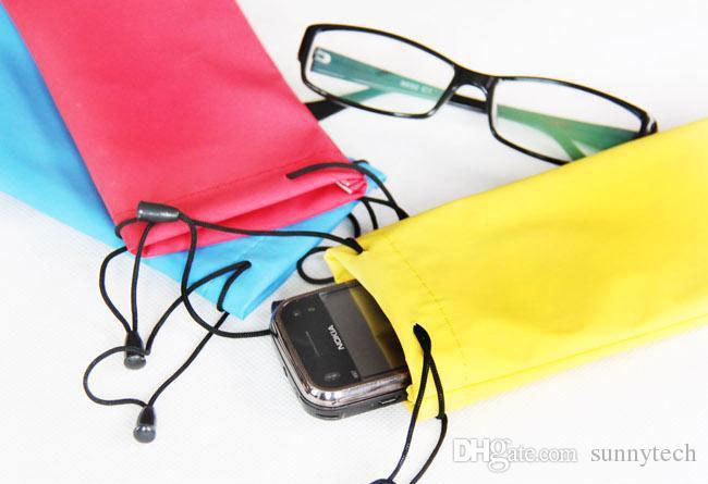 La migliore vendita 18 * 9cm occhiali da sole impermeabile sacchetto occhiali morbidi borsa occhiali caso molti colori misto tassa spedizione WA1478
