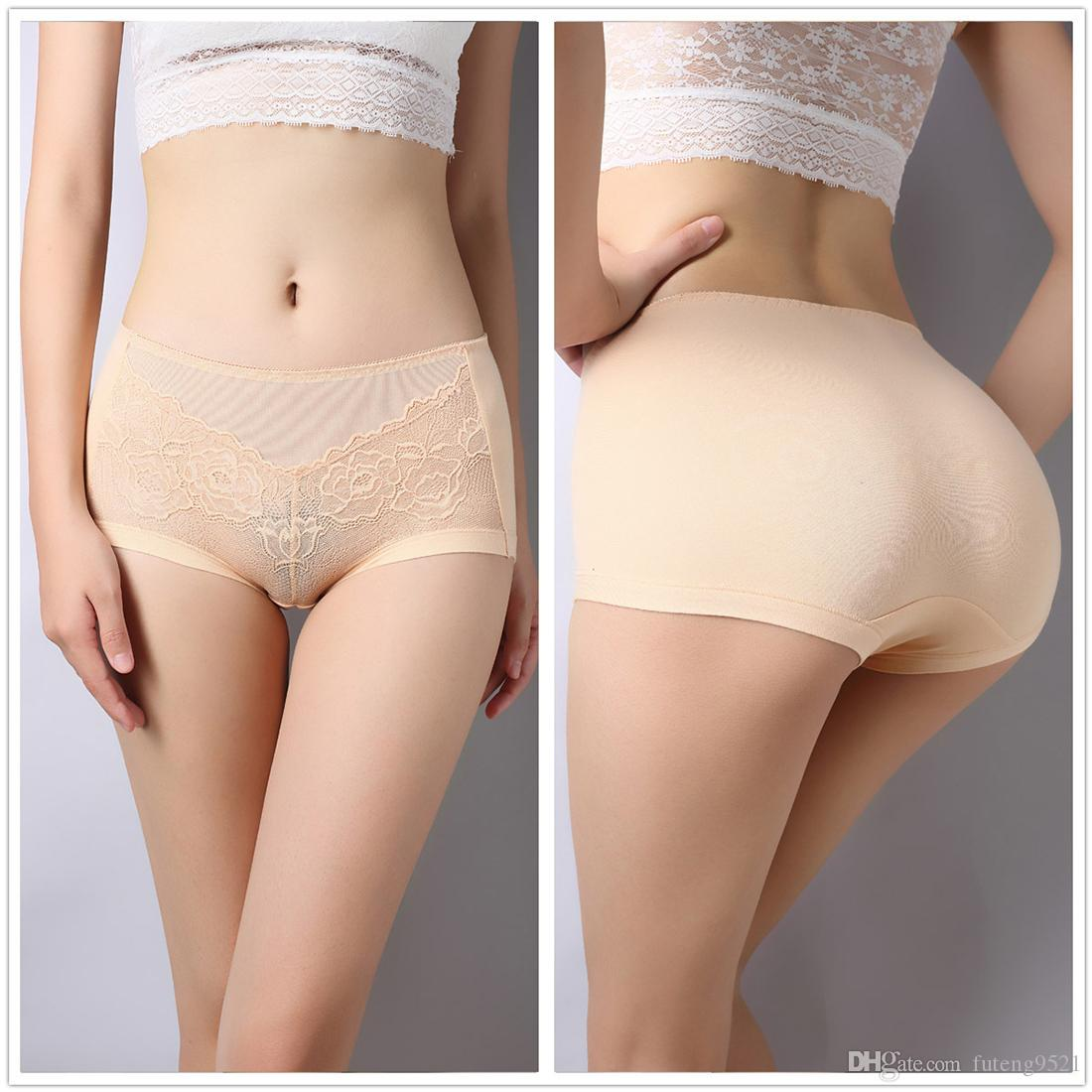 Large Size Pure Color Panties High Waist Cotton Briefs Sexy Underwear Women Lingerie Seamless Hiphuggers for Female