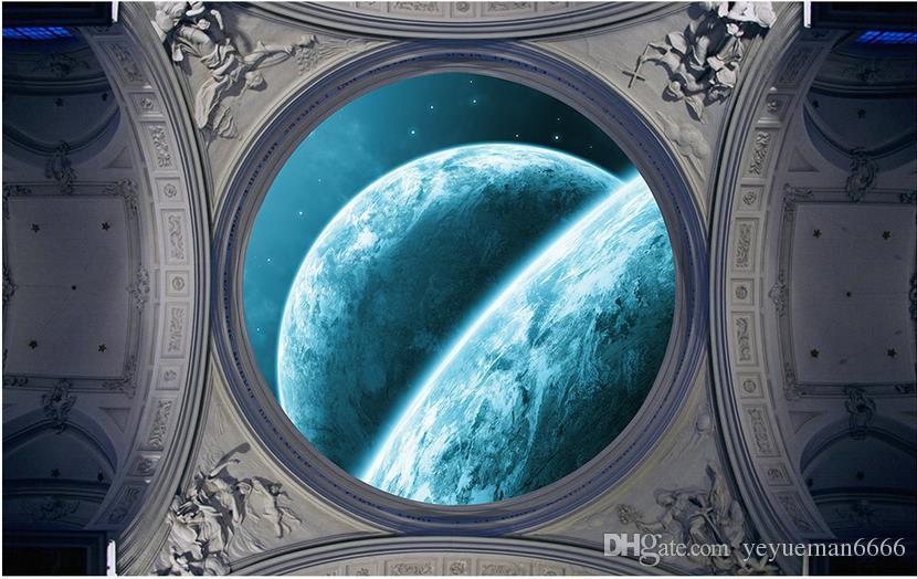 пользовательские роскошные 3D обои для потолков Dream sky moon нетканые 3D потолочные фрески обои европейский