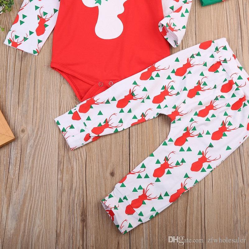 Bébé De Noël Pyjamas Barboteuse Ensemble Enfants Boutique Vêtements Costume Tenue Pour Tout-Petits Renne Barboteuse Infantile + Legging Pantalon + Chapeau Costume Rouge Nouvel An