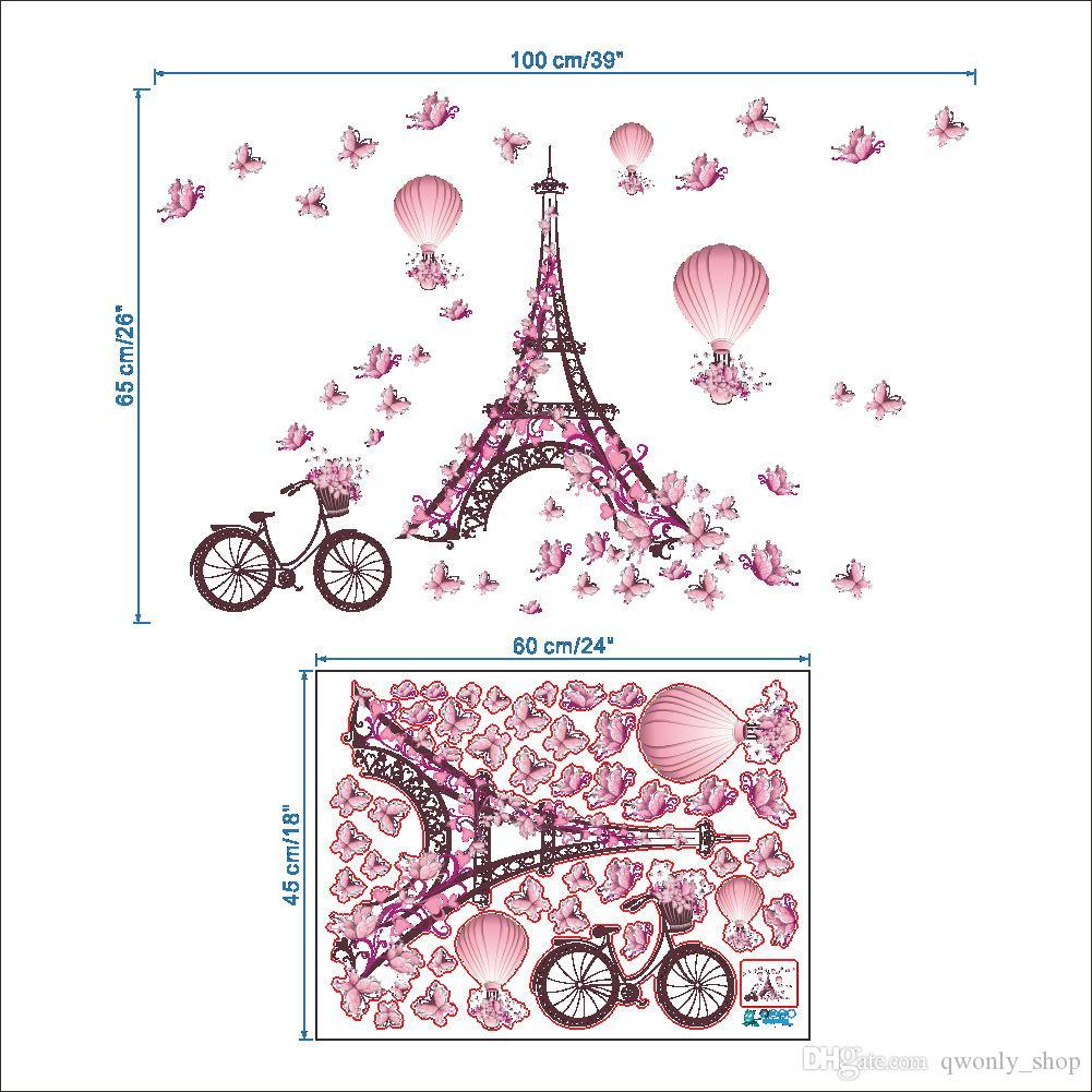 Romântico Torre Eiffel Amor Casal Adesivos de Parede Decalques Sala de estar Decoração Bicicleta Flor Balão De Ar Quente Decoração Do Casamento