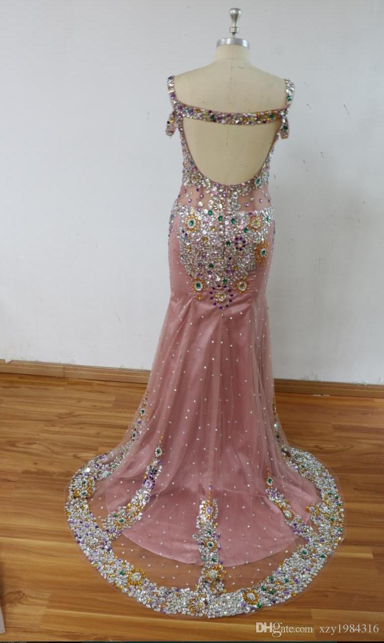 Sparkly Rhinestone Mermaid Prom Dresses Off Shoulder Sequins Beaded Celebrity Party Dress 2017 Custom Made Real Picture Luxury Evening Gowns