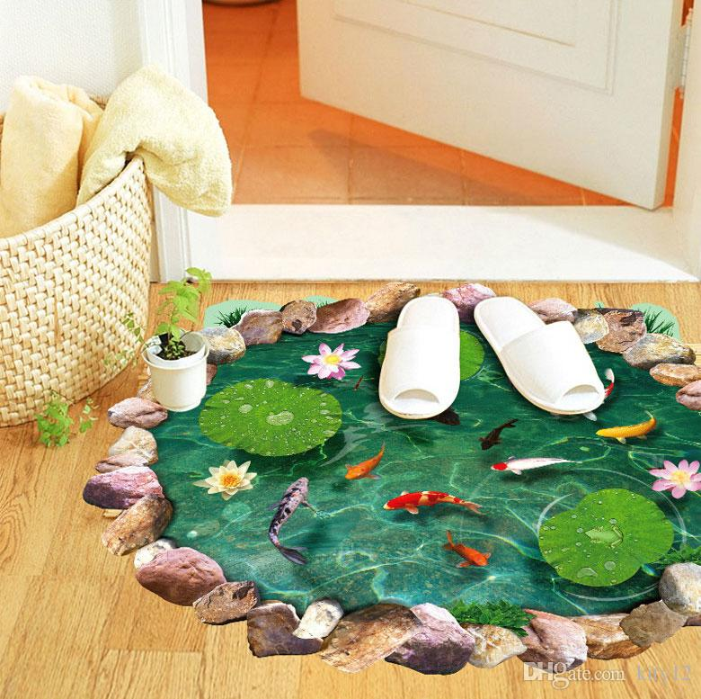 Hot Wholesale 3D Lotus Fishpond Cute Floor Stickers Novelty Living Room Decal Removable Waterproof Wall Stickers