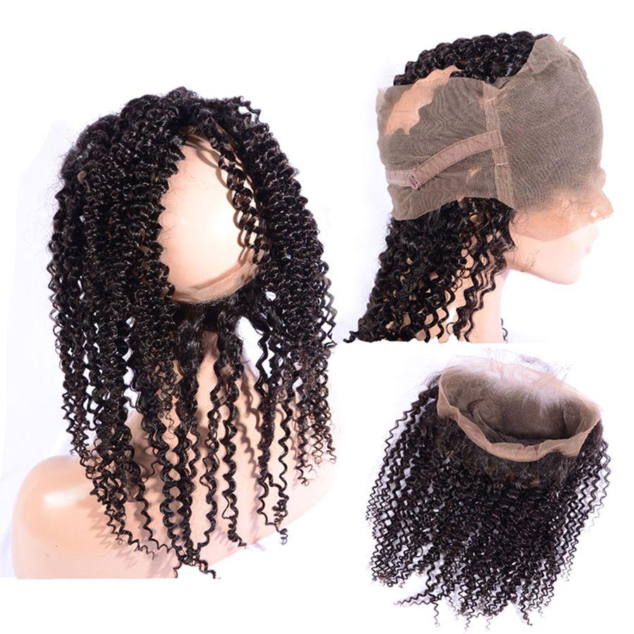 360 Dentelle Frontale Fermeture Avec 3 Bundles Brésilien Vague Crépus Bouclés Vierge Cheveux Avec Fermeture Humide et Ondulée Curly 360 Dentelle Frontale noir