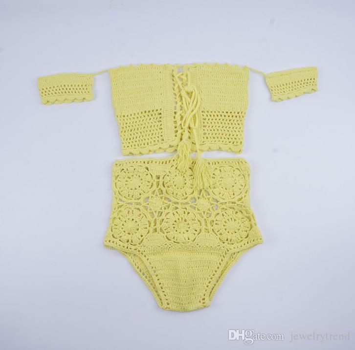 New Summer Bohemian Swimwear for Women Slash Neck Crochet Swimsuit Tankinis Bikini Set Crop Top High Waist Shorts Knitted Bikini Suit C2974