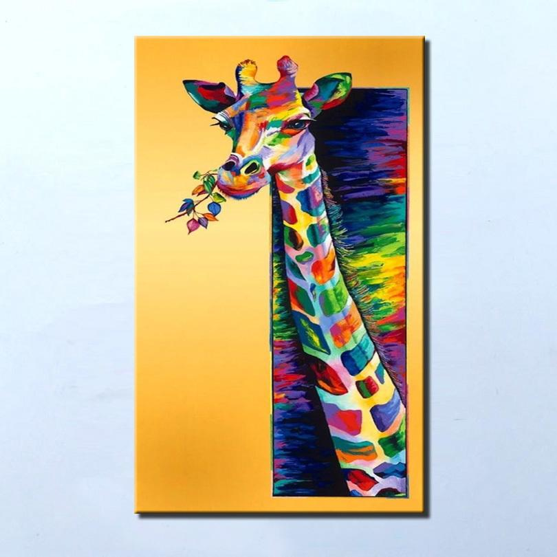 Hand Painted Modern Colorful Wall Art Oil Painting On Canvas Animal ...