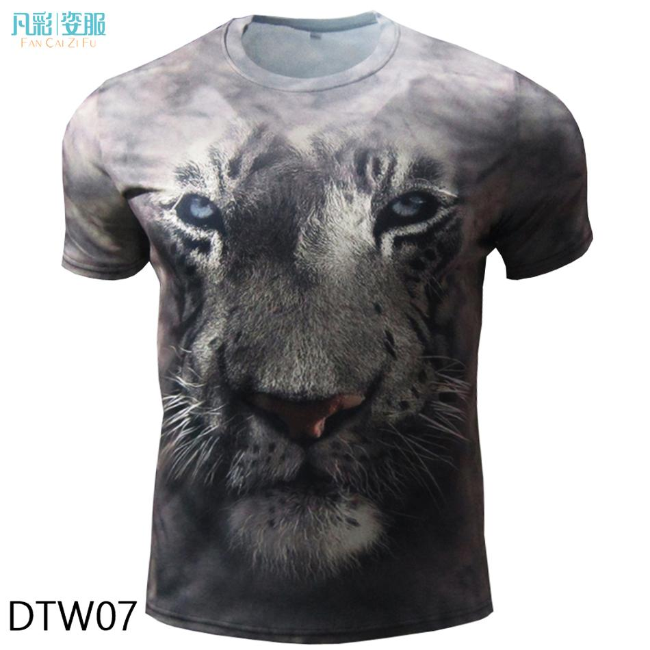Wholesale custom printed 3d t shirt men lion funny t for Wildlife t shirts wholesale