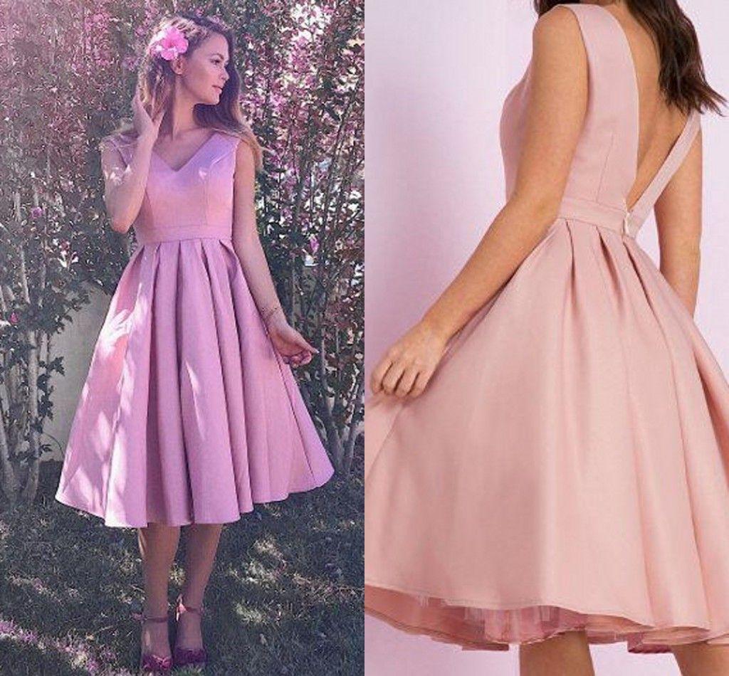 Knee Length Satin Short Bridesmaid Dresses V Neck Sleeveless Puffy ...
