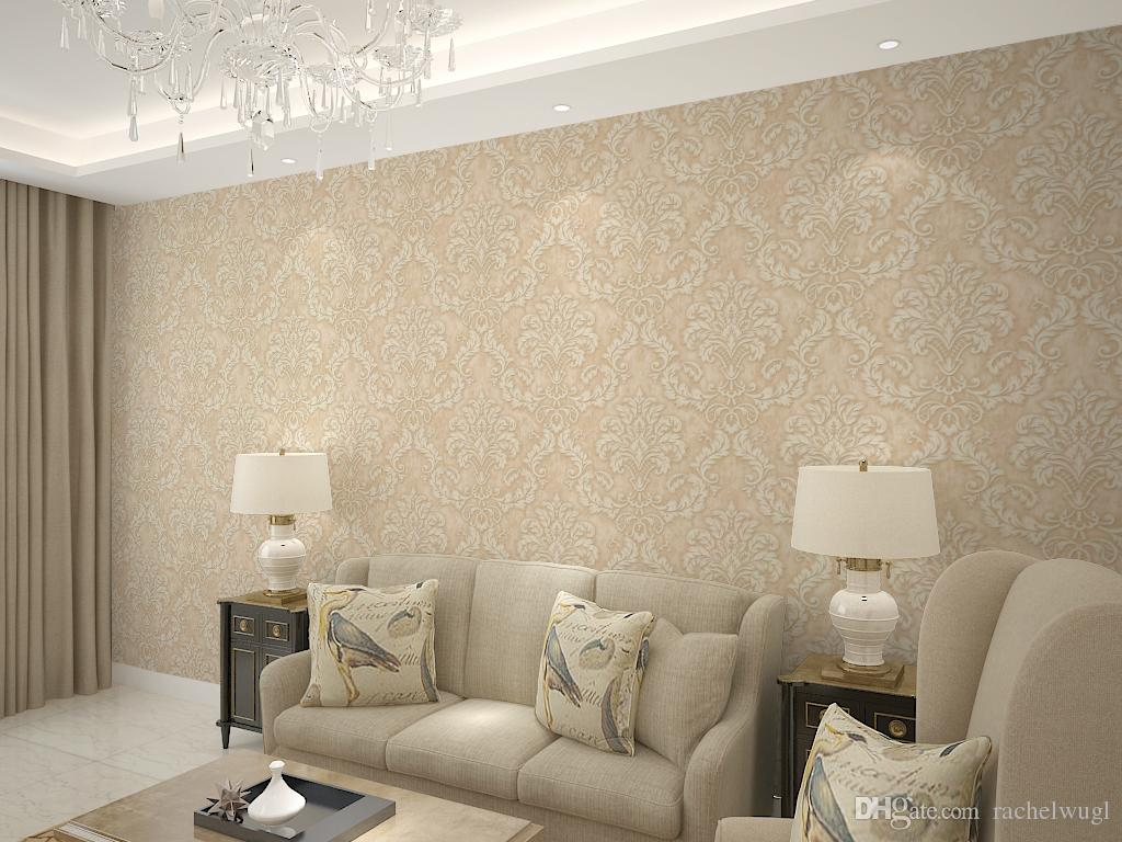 Gold color europe damask wallpaper roll 3d wallpaper for for Gold wallpaper living room