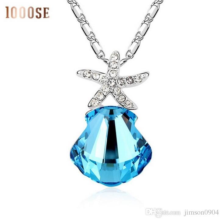 2017 nuevo El genuino SWAROVSKI Elements Crystal Necklace - Coral Sea fashion cadena corta colgante femenino clavícula venta