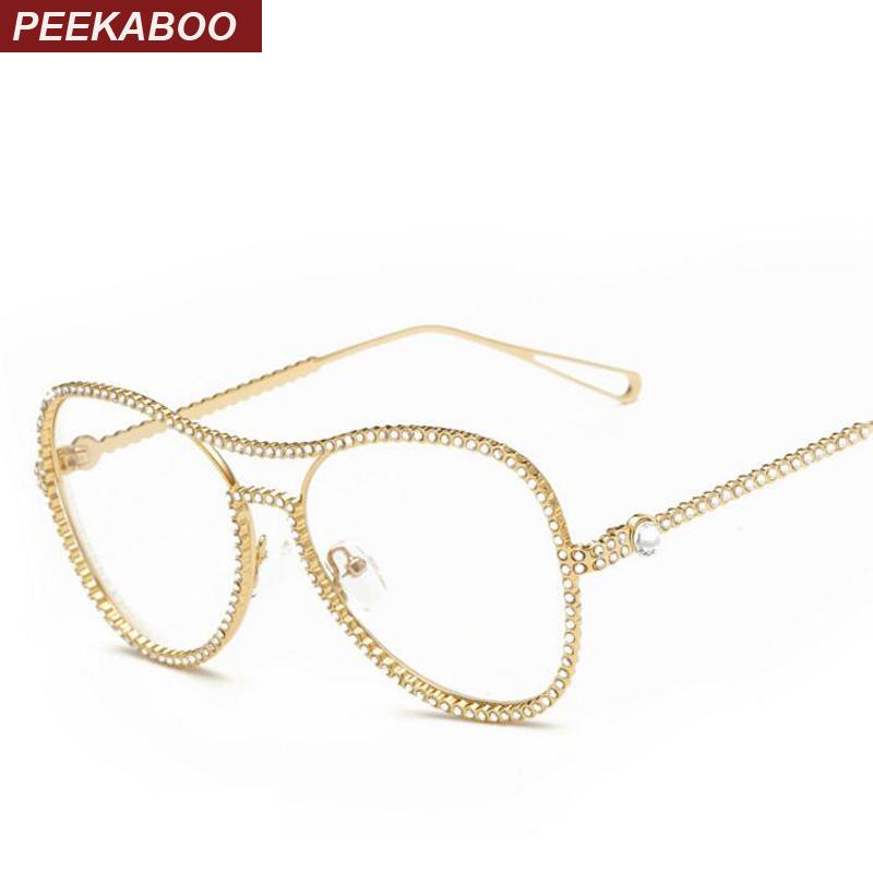 711e92c7e 2019 Wholesale Peekaboo New Beautiful Rhinestone Eyeglass Frames Female  Women Oversized Fashion Glasses With Clear Lenses Gold Silver Metal From  Duweiha, ...