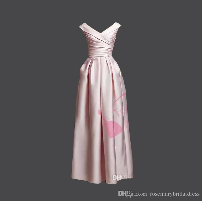 cd72856c772 Elegant Winter 2016 Pleats A Line V Neck Cap Sleeve Long Floor Length Pink  Satin Wedding Bridesmaid Dresses Custom Made Cheap Plus Size Royal Blue ...