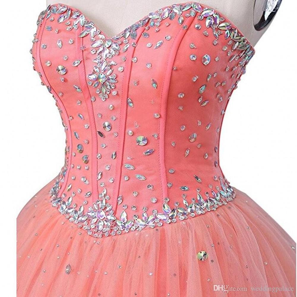 Vente chaude robe de bal Quinceanera chérie cristaux cou perles douces 15 16 robes de bal Quinceanera Robes Robes de soirée