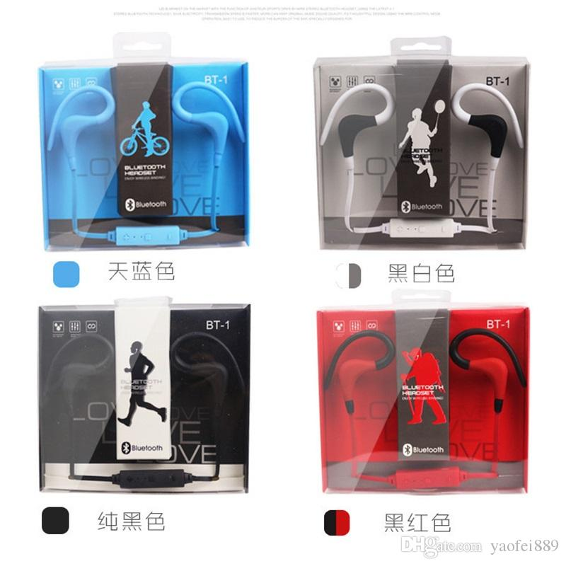BT-1 Tour Earphone Bluetooth Sport Earhook Earbuds Stereo Over-Ear Wireless Neckband Headset Headphone with Mic for Universal Cellphone
