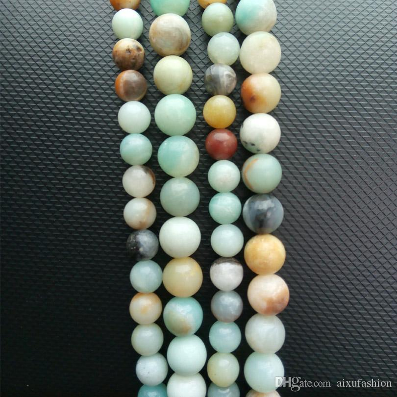 "Stone Loose Beads Round Frost Multicolor Amazonite Natural Stone Beads 15"" 2,3,6,8,10,12mm Bead For DIY Necklace Jewelry Making"