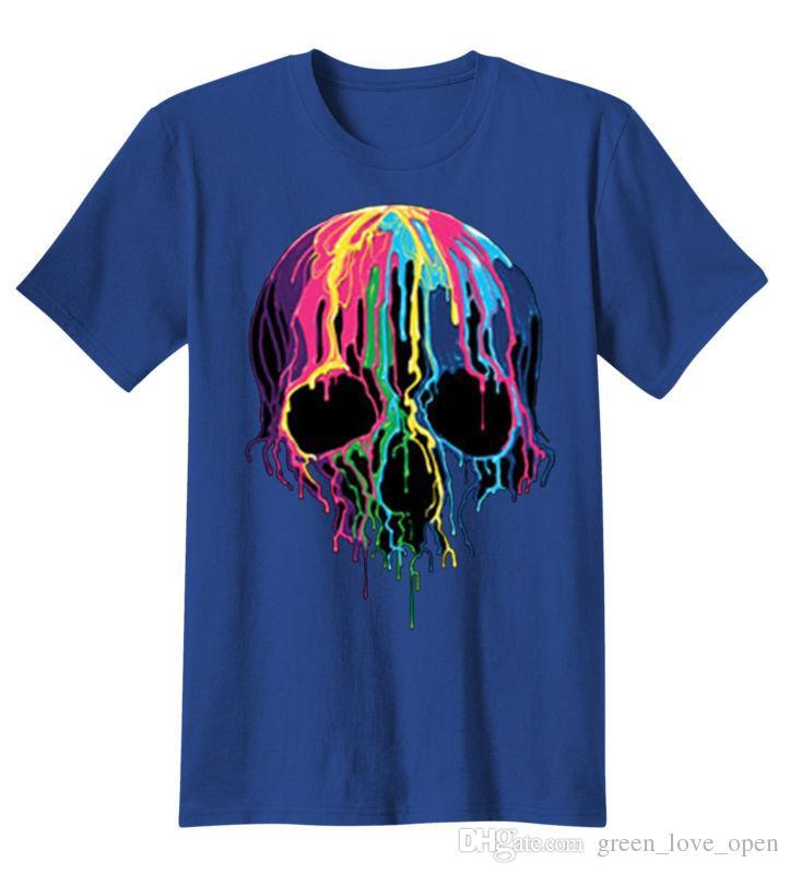 Красочные окрашенные Триппи готический плавления череп лето 2017 забавный прохладный мужчины футболка графический тройник мода одежда