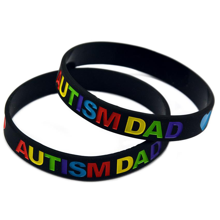 Black and White Multicolour Logo Love Autism Dad and Mom Silicone Rubber Bracelet for Promotional Gift
