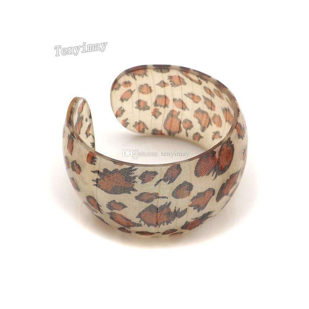 Acrylic Bangle Fashion Mixed Color Leopard Tryckd Öppnad bred Bangle för marknadsföring Partihandel 24st / Fri frakt