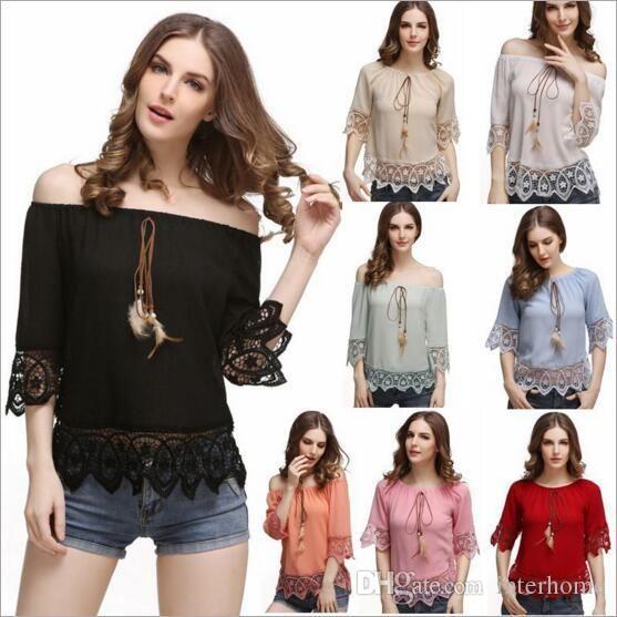 Блузки кружева от Shoulde женщины сексуальные шифоновые топы лето перо футболки женские повседневные рубашки с коротким рукавом блузки Женская одежда H111