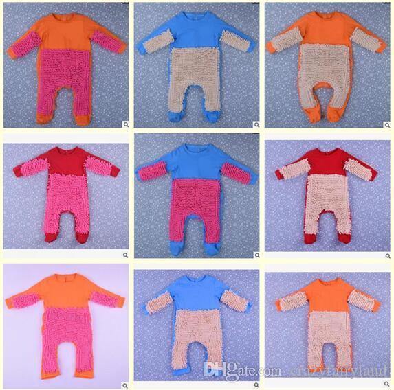 11812d4d7 Long Sleeve Baby Mop Romper Outfit Unisex Bebe Boy Girl Polishes Floors  Cleaning Mop Suit Baby