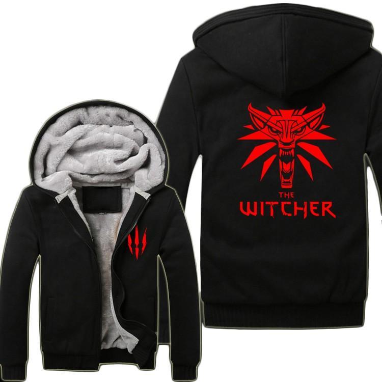 62f39c17e58e8 Wholesale- Game The Witcher 3 Wild Hunt Wolf Head Hoodies Super Warm ...