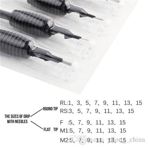 20 x Tek Kullanımlık Dövme Sapları Ile Tüp İğneler Çeşitli 9F Boyutu 3/4