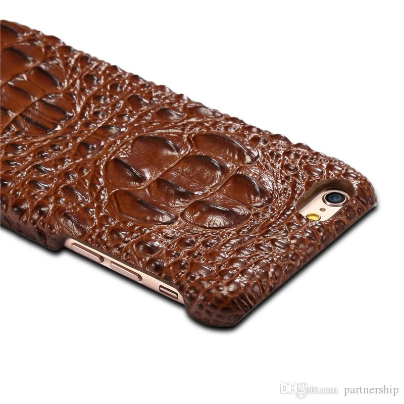 Retro Genuine Leather Case for iPhone 6 6s Plus 7 7 Plus Cases Cover Vintage Real Leather Phone 3D Crocodile Back Cover Coque