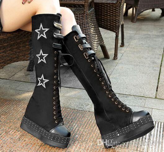 Black New Arrival Hot Sale Specials Super Fashion Influx Cheap Knight Lace Up Star Female Increased Velvet Wedge Noble Heels Boots EU33-40