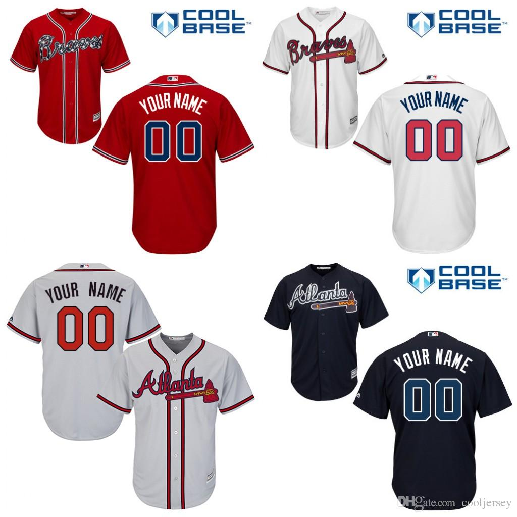 97d2c6b52 ... 2017 2016 Youth Custom Atlanta Braves Baseball Jersey Customized Kids  Braves Cool Base Personalized Any Name .