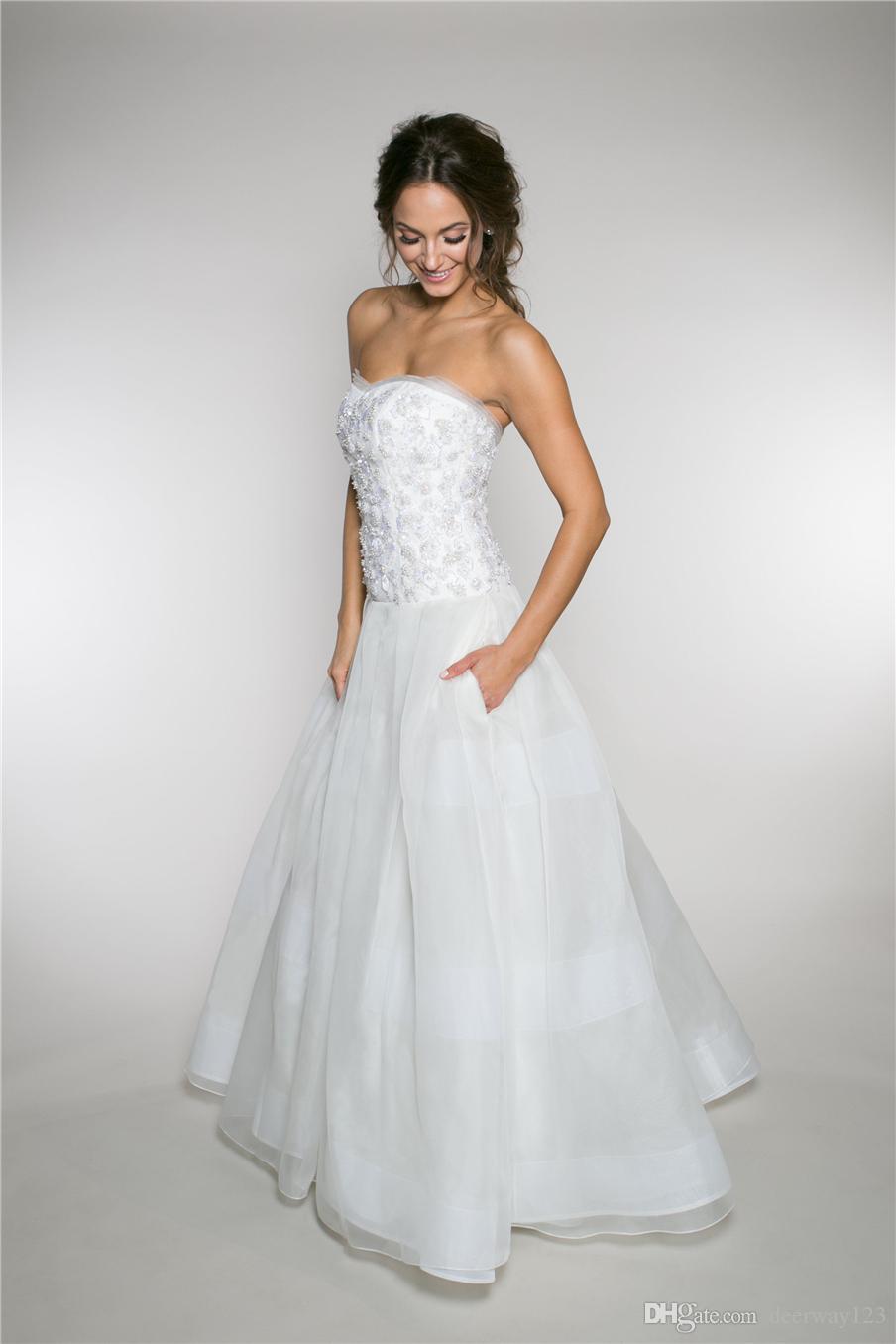 Beaded Sweetheart Bodice Dropped Waist a-Line Wedding Dress 3d Flowers Applique Crystals Bridal Dress Vestido De Noiva