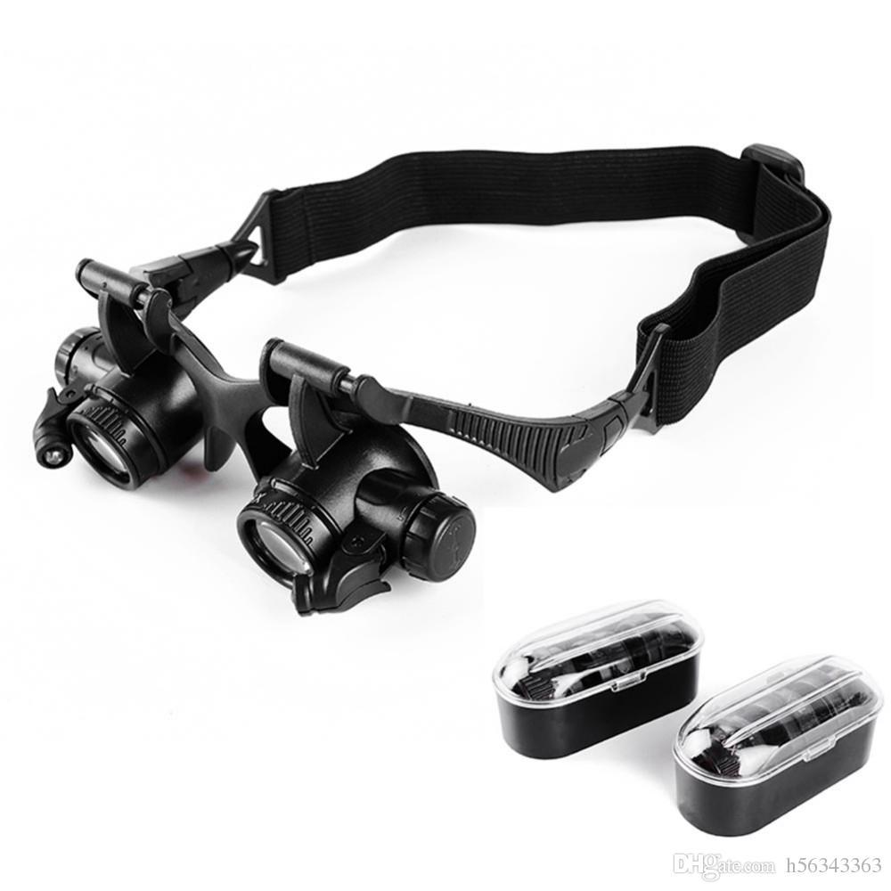 1x نوع النظارات المكبرة 10x 10x 20x 25x العين مجوهرات ووتش إصلاح المكبر نظارات مع 2 أضواء led جديد العدسة المجهر
