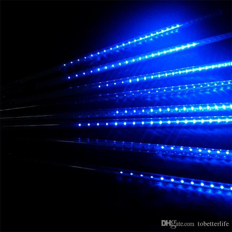 مجموعة عيد الميلاد ضوء تساقط الثلوج LED شرائط عيد الميلاد المطر أنبوب 20 30 50 سم النيزك دش المطر LED ضوء أنابيب التوصيل الاتحاد الأوروبي الولايات المتحدة