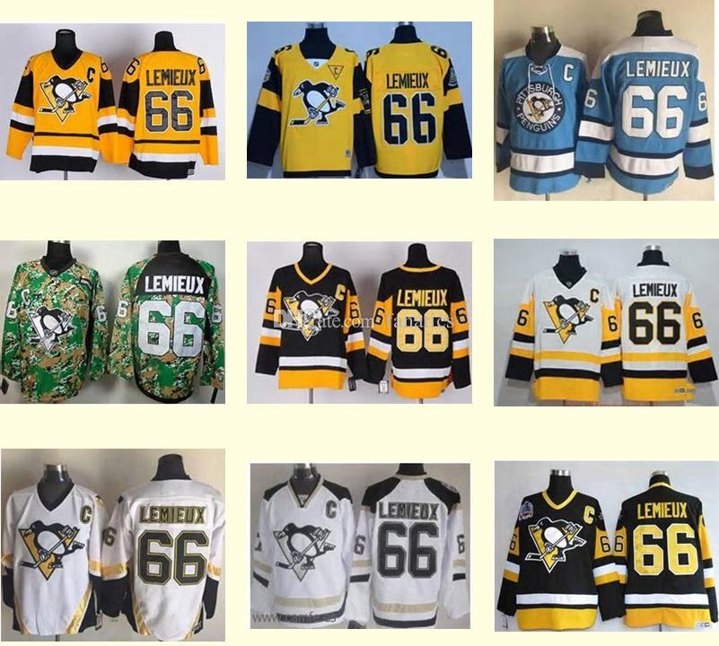 ... 2017 MenS Pittsburgh Penguins 66 Mario Lemieux Black White Yellow Blue  Green Camo Ice Hockey Jerseys ... 55a696209