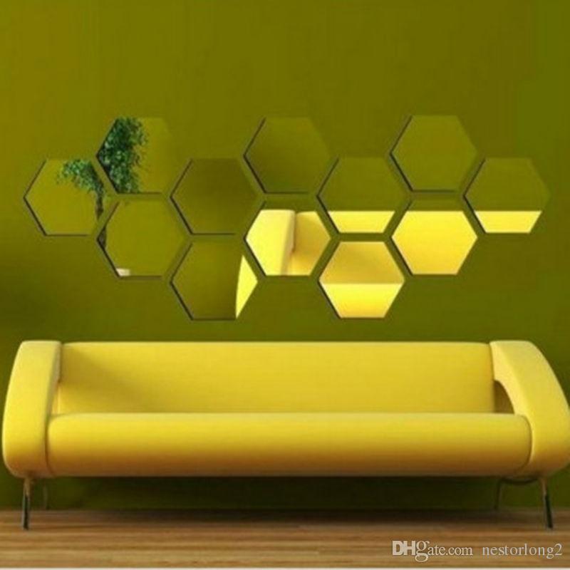 1 conjunto de Hexágono Decorativo 3D Espelho Acrílico Adesivos de Parede Sala de estar Quarto Decoração de Casa Decoração Do Quarto 8 * 4 CM