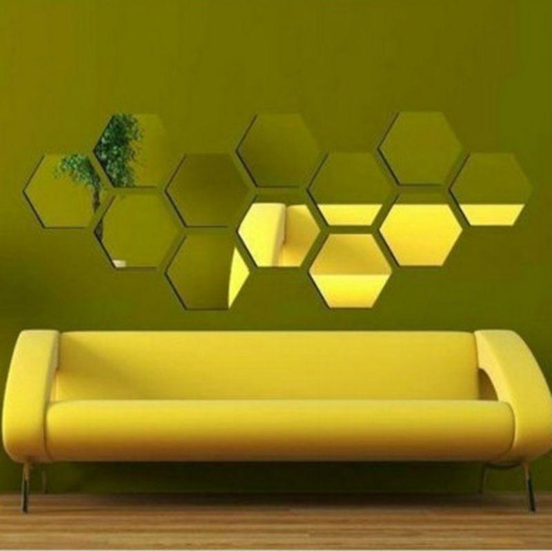 3D Mirror Wall Sticker Hexagon Vinyl Removable Wall Sticker Decal Home Decor Art DIY 8cm
