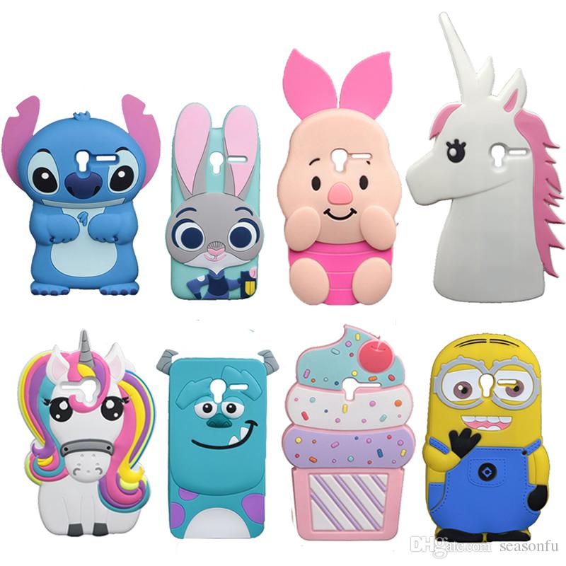 For Alcatel 5015 Cute Stitch Soft Case One Touch Pixi 3 50 5015A 5015D Cover Ice Cream Cat Sulley Minions Pig Phone Bags Heavy Duty Cell